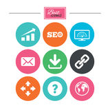 Internet, seo icons. Bandwidth speed sign. Royalty Free Stock Images