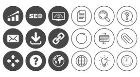 Internet, seo icons. Bandwidth speed sign. Internet, seo icons. Bandwidth speed, download arrow and mail signs. Hyperlink, monitoring symbols. Document, Globe royalty free illustration