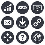 Internet, seo icons. Bandwidth speed sign. Internet, seo icons. Bandwidth speed, download arrow and mail signs. Hyperlink, monitoring symbols. Gray flat circle Royalty Free Stock Image
