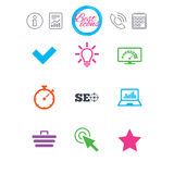 Internet, seo icons. Bandwidth speed sign. Information, report and calendar signs. Internet, seo icons. Bandwidth speed, online shopping and tick signs stock illustration