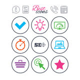 Internet, seo icons. Bandwidth speed sign. Information, report and calendar signs. Internet, seo icons. Bandwidth speed, online shopping and tick signs vector illustration