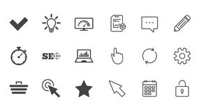 Internet, seo icons. Bandwidth speed sign. Internet, seo icons. Bandwidth speed, online shopping and tick signs. Favorite star, notebook chart symbols. Chat Stock Images