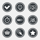 Internet, seo icons. Bandwidth speed sign. Internet, seo icons. Bandwidth speed, online shopping and tick signs. Favorite star, notebook chart symbols. Circle Royalty Free Stock Photography
