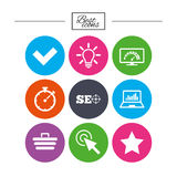 Internet, seo icons. Bandwidth speed sign. Stock Images