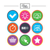 Internet, seo icons. Bandwidth speed sign. Internet, seo icons. Bandwidth speed, online shopping and tick signs. Favorite star, notebook chart symbols. Classic royalty free illustration