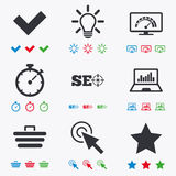 Internet, seo icons. Bandwidth speed sign. Internet, seo icons. Bandwidth speed, online shopping and tick signs. Favorite star, notebook chart symbols. Flat Stock Photo