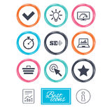 Internet, seo icons. Bandwidth speed sign. Internet, seo icons. Bandwidth speed, online shopping and tick signs. Favorite star, notebook chart symbols. Report Stock Images