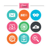 Internet, seo icons. Checklist, target signs. Royalty Free Stock Photography