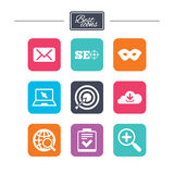 Internet, seo icons. Checklist, target signs. Stock Photo