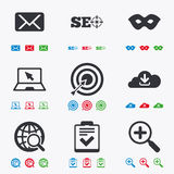 Internet, seo icons. Checklist, target signs Stock Photography