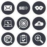 Internet, seo icons. Checklist, target signs Royalty Free Stock Photo