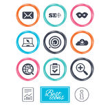 Internet, seo icons. Checklist, target signs. Internet, seo icons. Checklist, target and mail signs. Mask, download cloud and magnifier symbols. Report document Royalty Free Stock Image
