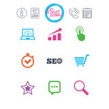 Internet, seo icons. Online shopping, charts. Information, report and calendar signs. Internet, seo icons. Online shopping, charts and speed signs. Chat Stock Photo