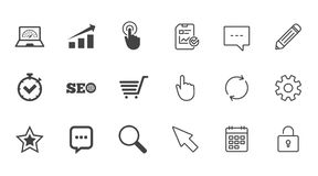 Internet, seo icons. Online shopping, charts. Internet, seo icons. Online shopping, charts and speed signs. Chat messages symbol. Chat, Report and Calendar line Royalty Free Stock Images