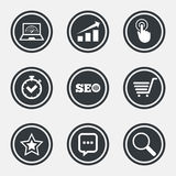 Internet, seo icons. Online shopping, charts. Internet, seo icons. Online shopping, charts and speed signs. Chat messages symbol. Circle flat buttons with icons Stock Photography