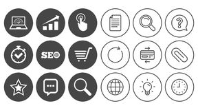 Internet, seo icons. Online shopping, charts. Internet, seo icons. Online shopping, charts and speed signs. Chat messages symbol. Document, Globe and Clock line Stock Image