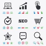 Internet, seo icons. Online shopping, charts. And speed signs. Chat messages symbol. Flat black, red, blue and green icons Stock Photos