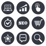 Internet, seo icons. Online shopping, charts. And speed signs. Chat messages symbol. Gray flat circle buttons. Vector Stock Images