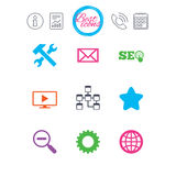 Internet, seo icons. Repair, database and star. Information, report and calendar signs. Internet, seo icons. Repair, database and star signs. Mail, settings and Stock Images