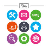 Internet, seo icons. Repair, database and star. Royalty Free Stock Photo