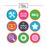 Internet, seo icons. Repair, database and star. Royalty Free Stock Photography