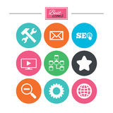 Internet, seo icons. Repair, database and star. Stock Photography