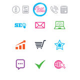 Internet, seo icons. Star, shopping signs. Information, report and calendar signs. Internet, seo icons. Tick, online shopping and chart signs. Bandwidth, mobile Stock Photography