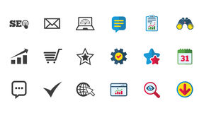Internet, seo icons. Star, shopping signs. Internet, seo icons. Tick, online shopping and chart signs. Bandwidth, mobile device and chat symbols. Calendar Royalty Free Stock Images