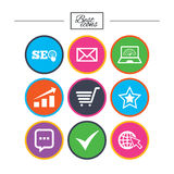 Internet, seo icons. Star, shopping signs. Stock Photography