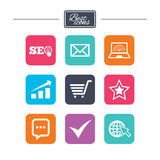 Internet, seo icons. Star, shopping signs. Internet, seo icons. Tick, online shopping and chart signs. Bandwidth, mobile device and chat symbols. Colorful flat vector illustration