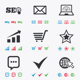 Internet, seo icons. Star, shopping signs Royalty Free Stock Photo