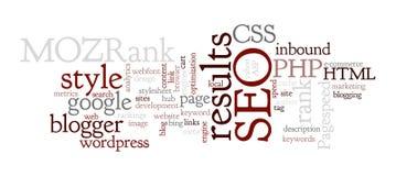 Internet SEO Word Tag Cloud Illustration Photo libre de droits