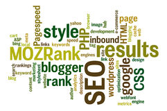 Internet SEO Word Tag Cloud Illustration stock foto