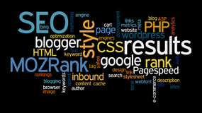 Internet SEO Word Tag Cloud Illustration Fotografia Stock Libera da Diritti