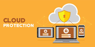 Internet and server database cloud protection Stock Photos