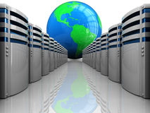 Internet servers. Abstract 3d illustration of servers computers row and earth globe Stock Image