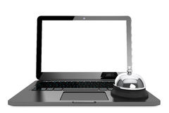 Internet Service Concept. Moder Laptop with Service Bell Royalty Free Stock Images