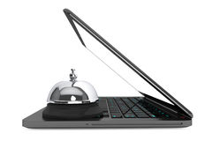 Internet Service Concept. Moder Laptop with Service Bell Royalty Free Stock Photo