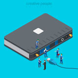 Internet service connection supply wi-fi flat isometric vector Stock Photos