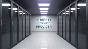 INTERNET SERVICE PROVIDER caption on the wall of a server room. Conceptual 3D animation