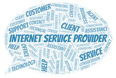 Internet Service Provider word cloud. Wordcloud made with text only royalty free illustration