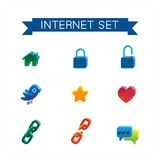 Internet set icons. This is set of volume isometric icons of internet topic. All you need for your work is here. Include hyperlink, likes, bird, home, lock Royalty Free Stock Photos