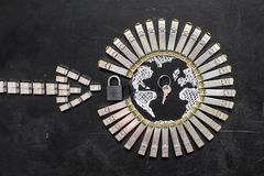 Internet SFP network modules  as the shape of Earth and  arrow, padlock and key.Concept of internet securi Royalty Free Stock Photography