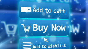 Internet shop in cyberspace with three icons Stock Image