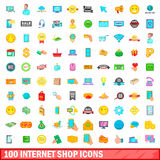 100 internet shop icons set, cartoon style. 100 internet shop icons set in cartoon style for any design vector illustration Royalty Free Stock Photos