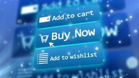 Internet shop icons under three quartes angle Royalty Free Stock Photos
