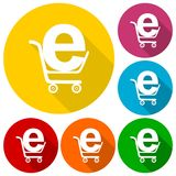 Internet shoping icons set with long shadow Stock Photos