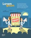 Internet shoppar befordran vektor illustrationer