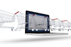 Internet Shoppers Concept. Line of Shopping Cart Coming Through the Laptop. Abstract 3D Illustration Isolated on White. E-Commerce Theme Stock Photos