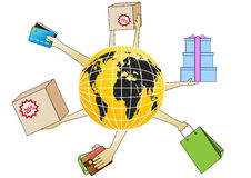 Internet shopping. Sign. Goods from all over the world Royalty Free Stock Images